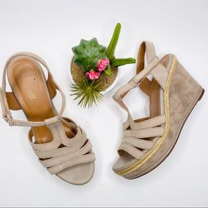 Clarks Tan Suede Wedge Sandals Size 9